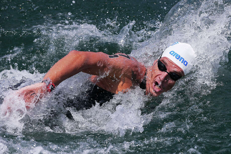 Spyridon Gianniotis of Greece competes during the Open Water Swimming Men's 10k race on day three of the 15th FINA World Championships at Moll de la Fusta on July 22, 2013 in Barcelona. Photo: Alexander Hassenstein, Getty Images / 2013 Getty Images