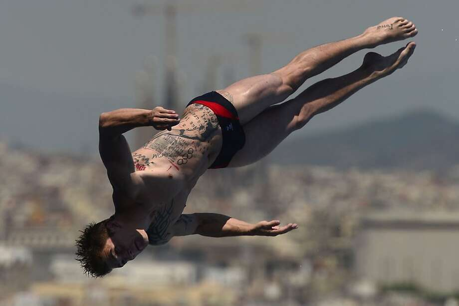 France's Matthieu Rosset competes in the men's 1-metre springboard final diving event in the FINA World Championships. Photo: Javier Soriano, AFP/Getty Images