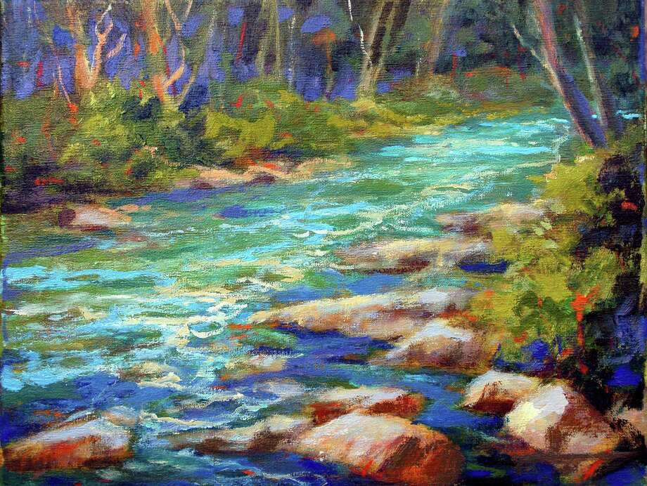 """Stamford artist Karen Schmitz's """"Spring Flow,"""" an oil on linen, is one of nearly two dozen paintings on display at The Drawing Room Gallery in the Cos Cob section of Greenwich. She is one of the artists in the show """"En Plein Air: Eight Artists Interpret the Landscape in the Open Air."""" It runs through Aug. 5, 2013. Photo: Contributed Photo"""