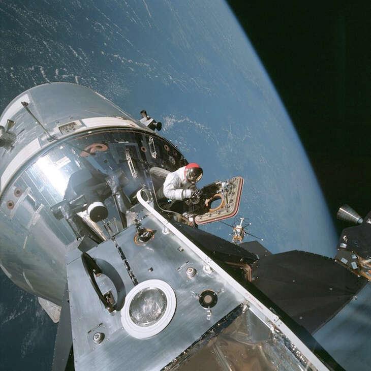 Astronaut Dave Scott comes out of the Apollo 9 command module.