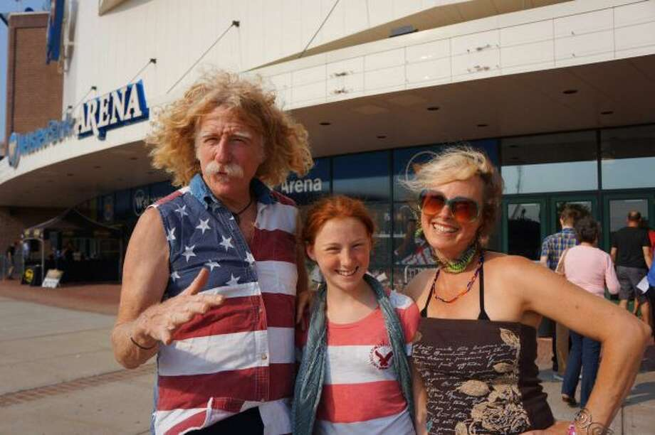 Fans lined up for Bob Dylan's 'AmericanaramA' concert outside Webster Bank Arena on Friday, July 19, 2013.
