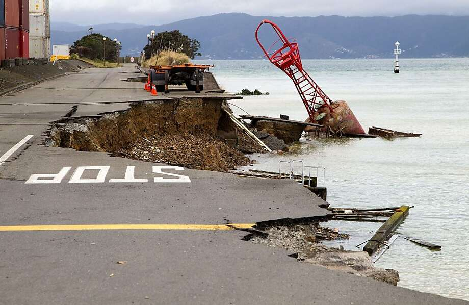 Road destruction ahead: A 6.5-magnitude earthquake literally caused part of Wellington, New Zealand, to fall into the sea. 