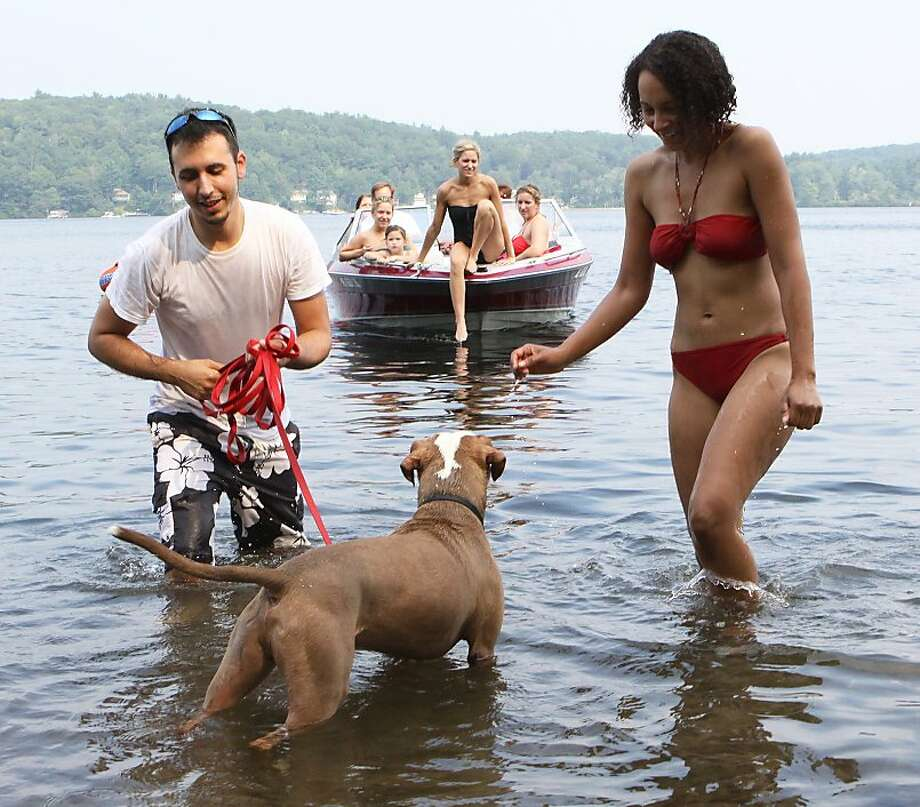 Chili dog: Jessie Berman and Alicia Bray cool off with their dog, Chili, in Connecticut's Crystal Lake. Connecticut enjoyed a break from last week's oppressive heat, but temperatures were still flirting with 90 degrees. Photo: Jared Ramsdell, Associated Press