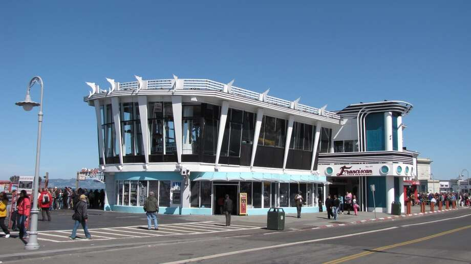 The Franciscan Crab Restaurant at Pier 43 1/2 in Fisherman's Wharf plays up the seafood angle in its architecture with such elements as portholes above the entrance and dancing fish along the roof.