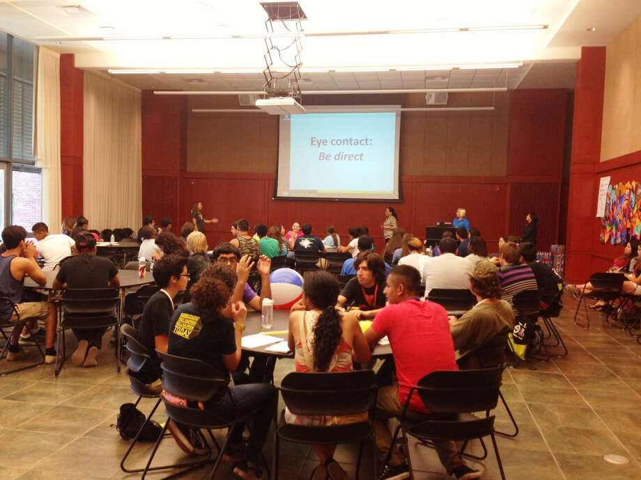 Local high school students learn about the interview process during Camp GenTX at Trinity University. Photo: Lydia Duncombe/ San Antonio Express-News
