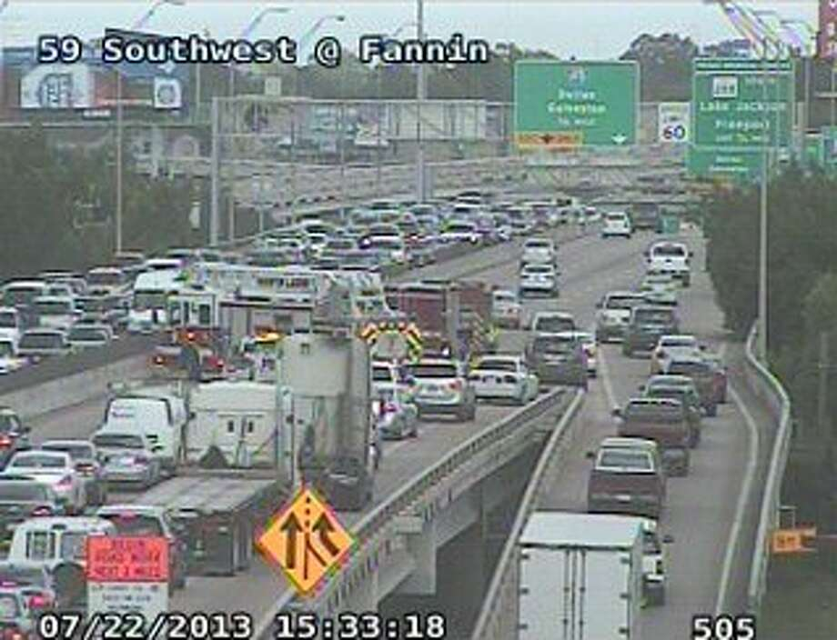 All northbound lanes on the Southwest Freeway at Fannin are closed after a two-car wreck. (Houston Transtar photo)