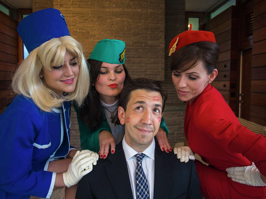 "Appearing in ""Boeing, Boeing,"" the Town Players of New Canaan summer show, are, from left, Annaliese Kirby, Linda Moran Branch, Sarah Giggar and Damian Long, seated. Photo: Contributed"