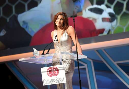 Pro soccer player and honoree Hope Solo receives the Female Athlete of the Year award at the 28th Anniversary Sports Spectacular Gala at the Hyatt Regency Century Plaza on May 19, 2013 in Century City, California.  (Photo by Imeh Akpanudosen/Getty Images for Sports Spectacular) Photo: Imeh Akpanudosen, Getty Images For Sports Spectacular