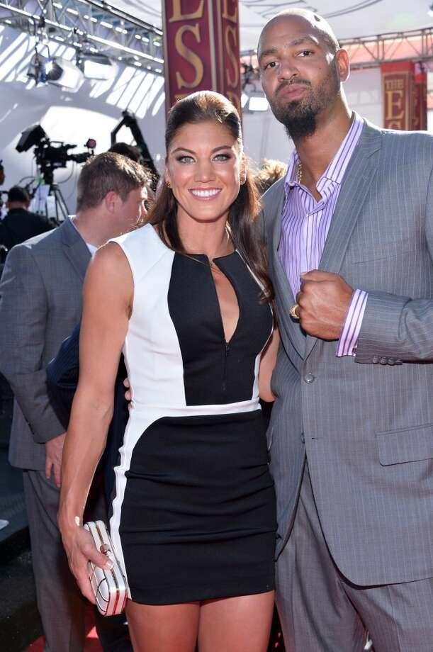 USA soccer player Hope Solo and former NFL player Jerramy Stevens attend The 2013 ESPY Awards at Nokia Theatre L.A. Live on July 17, 2013 in Los Angeles, California. Photo: Alberto E. Rodriguez, Getty Images For ESPY