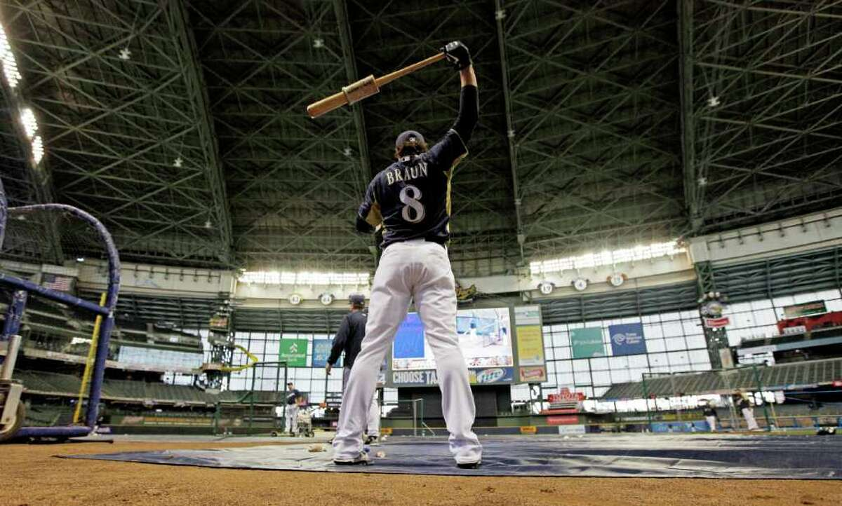 Milwaukee Brewers' Ryan Braun stretches during baseball practice, Friday, Sept. 30, 2011, in Milwaukee. The Brewers are scheduled to face the Arizona Diamondbacks in Game 1 of the National League division baseball series on Saturday. (AP Photo/David J. Phillip)