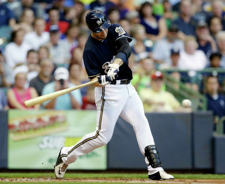 Milwaukee Brewers' Ryan Braun hits a single during the first inning of a baseball game against the Cincinnati Reds Tuesday, July 9, 2013, in Milwaukee. Photo: Morry Gash