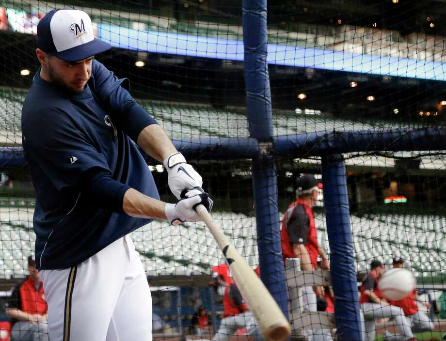 Milwaukee Brewers' Ryan Braun takes batting practice before a baseball game against the Cincinnati Reds Monday, July 8, 2013, in Milwaukee. Photo: Morry Gash