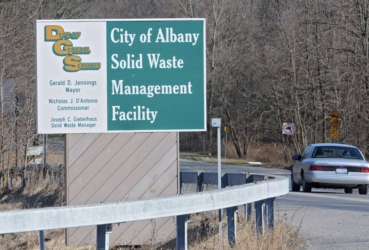 Sign at the Albany landfill on Monday, Feb. 6, 2012 in Albany, N.Y. Albany Common Council will discuss financing an expansion of the landfill at Monday night's meeting.(Lori Van Buren / Times Union)