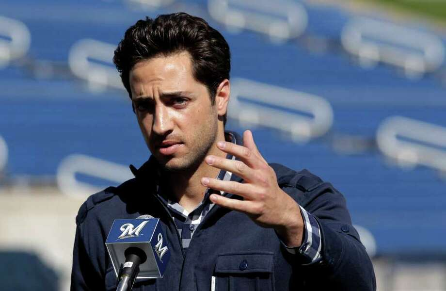 Milwaukee Brewers' Ryan Braun speaks during a news conference at baseball spring training in Phoenix, Friday, Feb. 24, 2012. National League MVP Braun's 50-game suspension was overturned Thursday by baseball arbitrator Shyam Das, the first time a baseball player successfully challenged a drug-related penalty in a grievance. Photo: AP