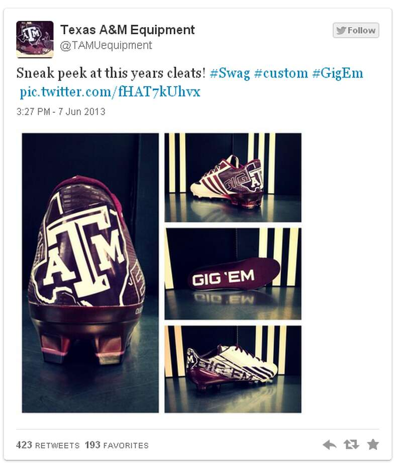 On June 7, the Texas A&M Athletic Equipment office tweeted this picture of the team's cleat design for the 2013 season.