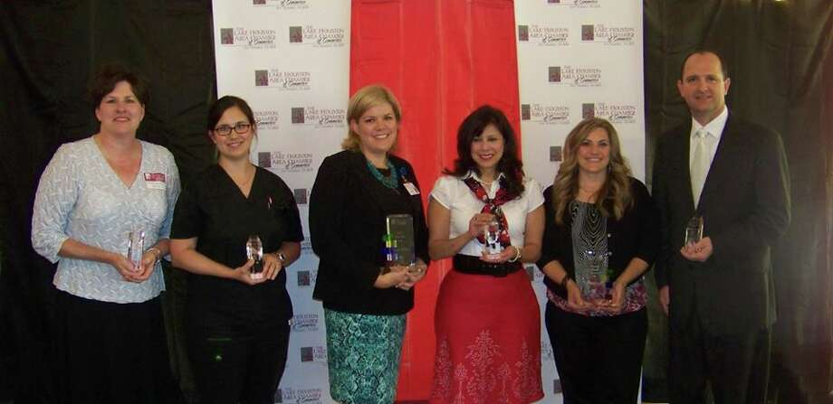 From left, honorees Maribeth Stitt, Dr. Stephanie Chapman, Rayna Hathorn, Cindy Butcher, Jennifer Johnston and Stephen Michael Bryan. Photo: Photo Provided By The Lake Houston Area Chamber Of Commerce