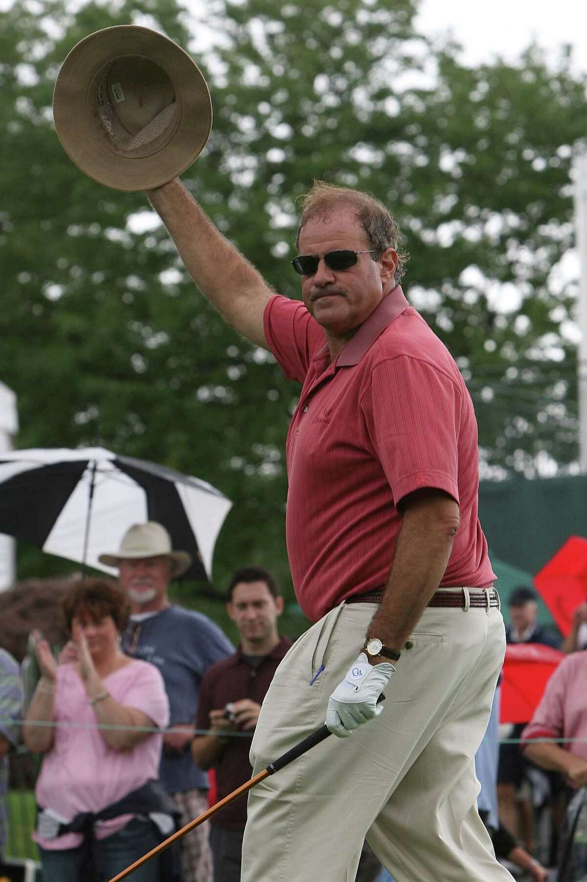 CROMWELL, CT - JUNE 24: Broadcaster Chris Berman interacts with spectators during the Travelers Championship Celebrity Pro-Am at TPC River Highlands on June 24, 2009 in Cromwell, Connecticut. (Photo by Jim Rogash/Getty Images)