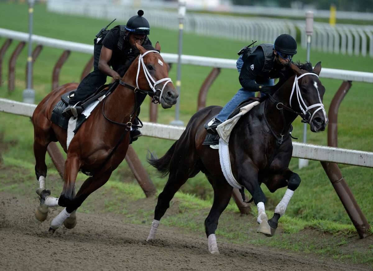 Micromanage, with exercise rider Nick Bush, left, works with Verrazano, ridden by jockey John Velazquez, Monday morning, July, 22, 2013, at Saratoga Race Course in Saratoga Springs, N.Y. This was their final prep for the Haskel at Monmouth Park on Sunday. (Skip Dickstein/Times Union)