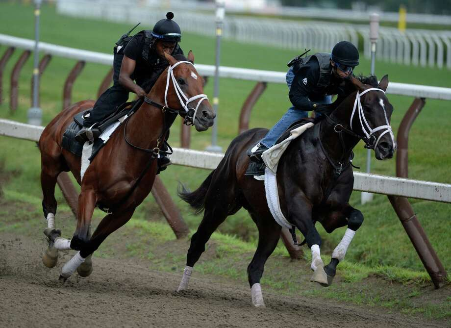 Micromanage, with exercise rider Nick Bush, left, works with Verrazano, ridden by jockey John Velazquez, Monday morning, July, 22, 2013, at Saratoga Race Course in Saratoga Springs, N.Y.  This was their final prep for the Haskel at Monmouth Park on Sunday.  (Skip Dickstein/Times Union) Photo: SKIP DICKSTEIN