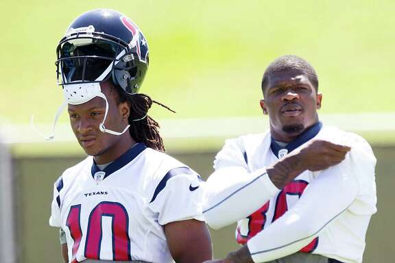 Rookie receiver DeAndre Hopkins, left, will be charged with shifting the attention of opposing defenses off veteran Andre Johnson.