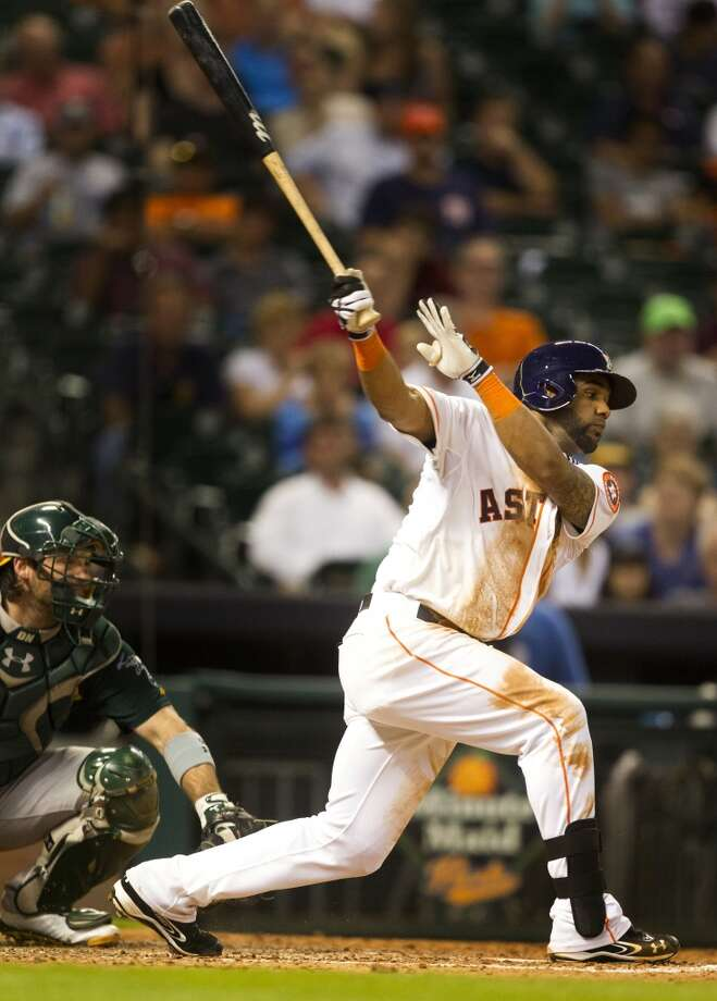 Astros shortstop Jonathan  Villar swings and misses to strike out. Photo: J. Patric Schneider, For The Chronicle