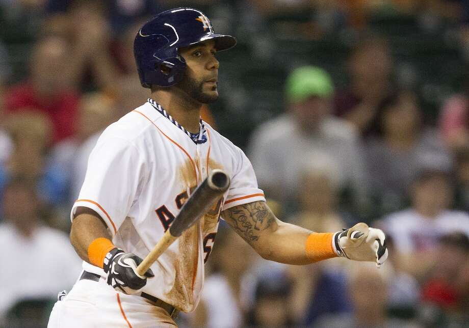 Astros shortstop Jonathan Villar bats during the seventh inning against the A's. Photo: J. Patric Schneider, For The Chronicle