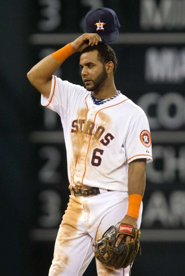 Astros shortstop Jonathan Villar looks on while playing against the A's. Photo: J. Patric Schneider, For The Chronicle