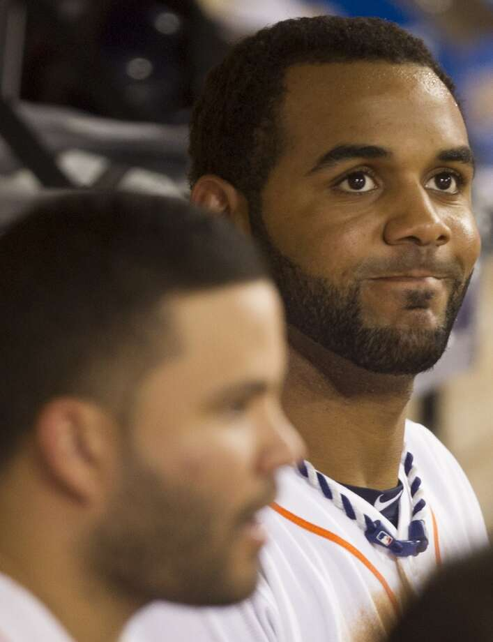 Astros shortstop Jonathan Villar sits in the dugout. Photo: J. Patric Schneider, For The Chronicle