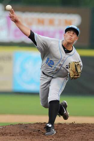 Hudson Valley Renegades pitcher Jamie Schultz, a Maple Hill graduate, throws the ball during a baseball game against the Tri-City ValleyCats on Monday July 22, 2013 in Troy N.Y. (Lori Van Buren / Times Union) Photo: Lori Van Buren / 00023166A