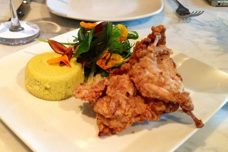 Zucchini sfomrato with buttermilk fried quail at Chalkboard in Healdsburg