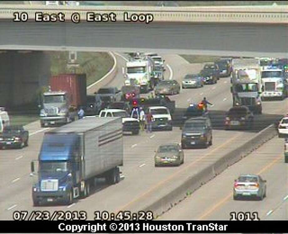 Traffic was slowed on the outbound East Freeway near the East Loop after reports of a woman either fell or jumped onto the freeway about 10:30 a.m. Photo: Houston TranStar