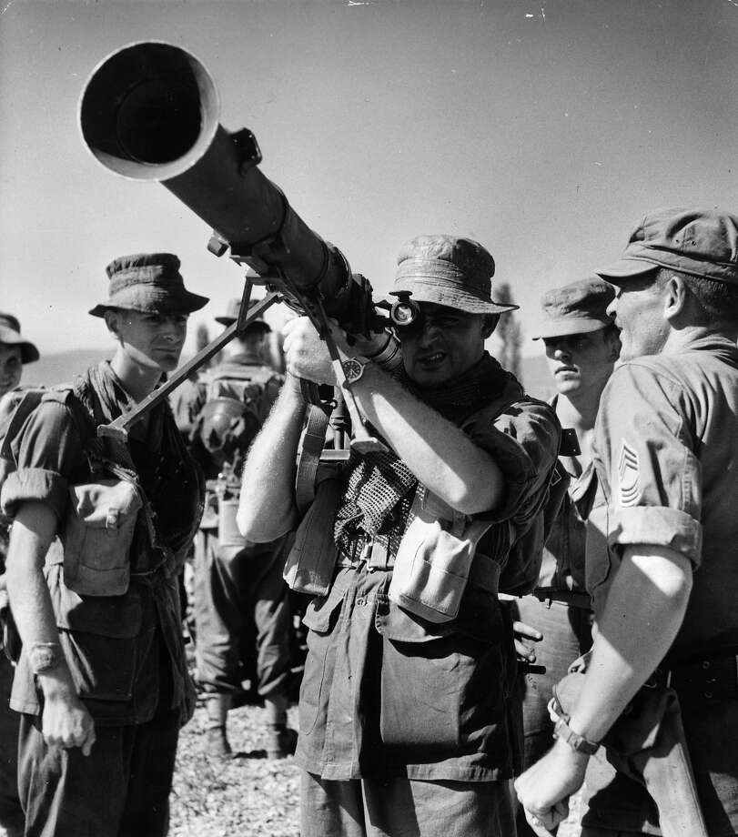 A British infantryman handles a new American bazooka in the front-line area of Taegu during the Korean War. Photo: Bert Hardy, Getty Images / Picture Post