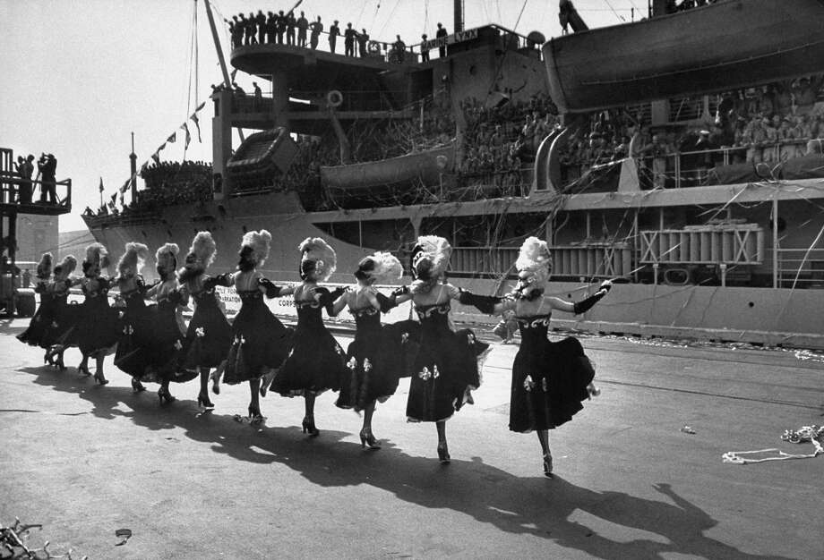 Seattle sending its cancan girls to entertain returning Korean war veterans. Photo: Ed Clark, Time & Life Pictures/Getty Image / Time Life Pictures