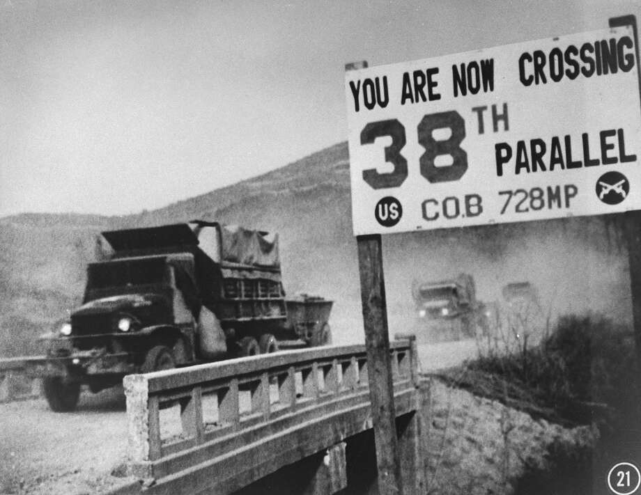 UN forces' transport vehicles recrossing 38th Parallel as they withdraw from Pyongyang, North Korean capital, during Korean War. Photo: Time Life Pictures, Time & Life Pictures/Getty Image / Time & Life Pictures