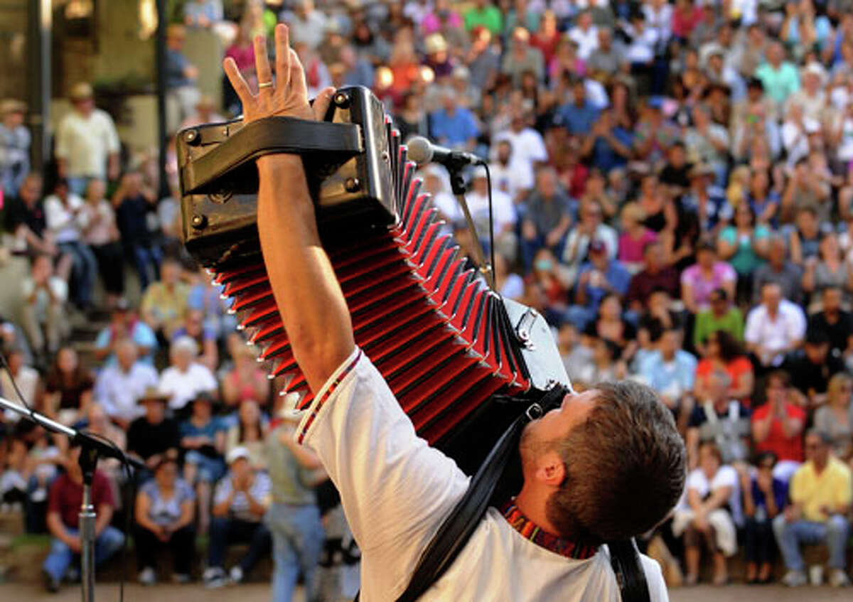 2010: Danny Jerabek of the polka band Copper Box perform at the Arneson River Theater.