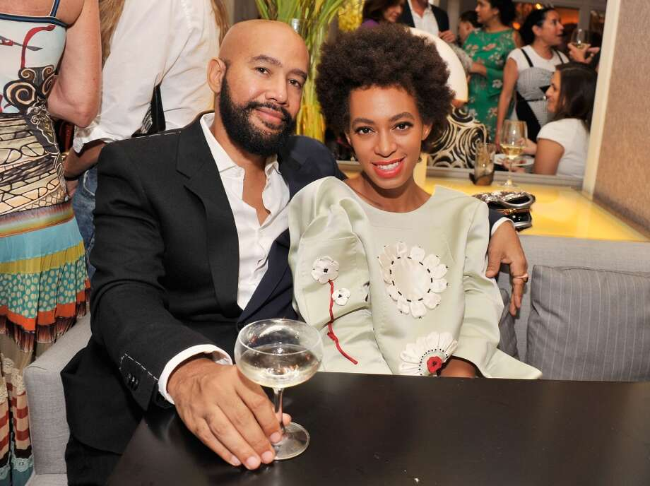"Music video director Alan Ferguson and singer Solange Knowles attend the after party for the New York Premiere of ""Blue Jasmine"" at Harlow on July 22, 2013 in New York City.  (Photo by Stephen Lovekin/Getty Images)"