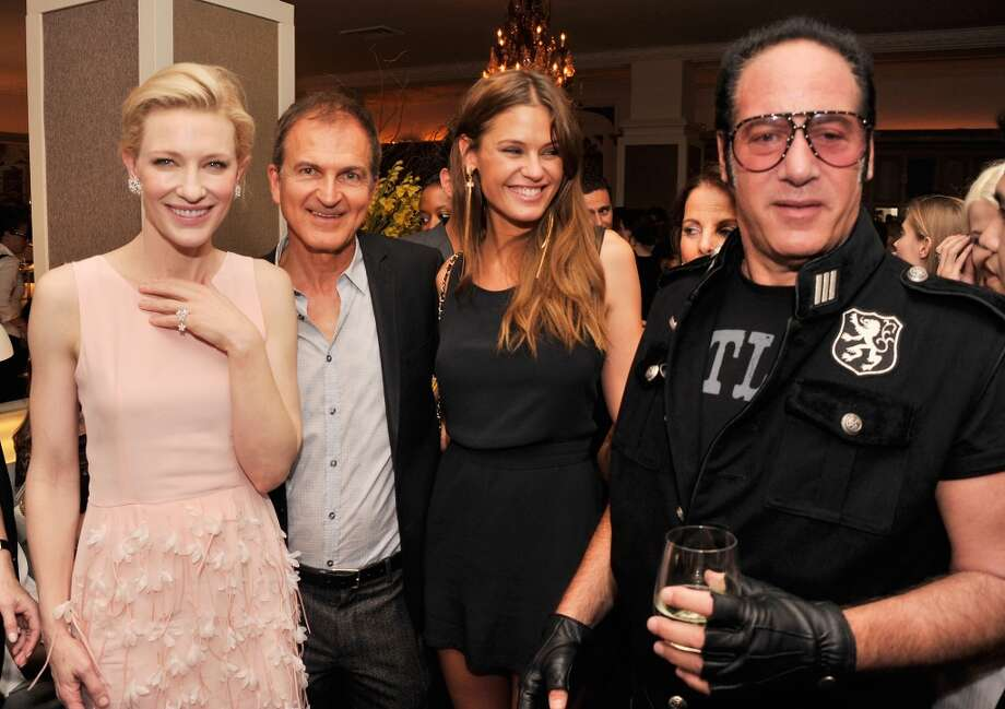 "Actress Cate Blanchett, producer Edward Walson, model Dominique Piek, and actor/comdian Andrew Dice Clay attend the after party for the New York Premiere of ""Blue Jasmine"" at Harlow on July 22, 2013 in New York City.  (Photo by Stephen Lovekin/Getty Images)"