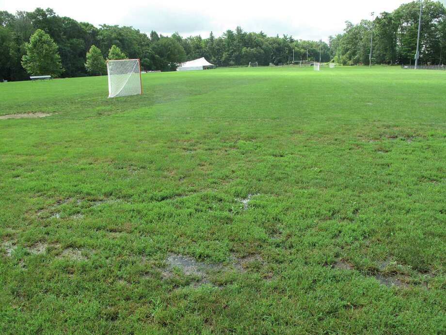 The Town Council approved a $1.2 million privately funded project July 17 for the replacement of these fields in Waveny Park by the high school. The project would install artificial turf in place of the grass fields, which drain poorly after rains. Photo: Tyler Woods