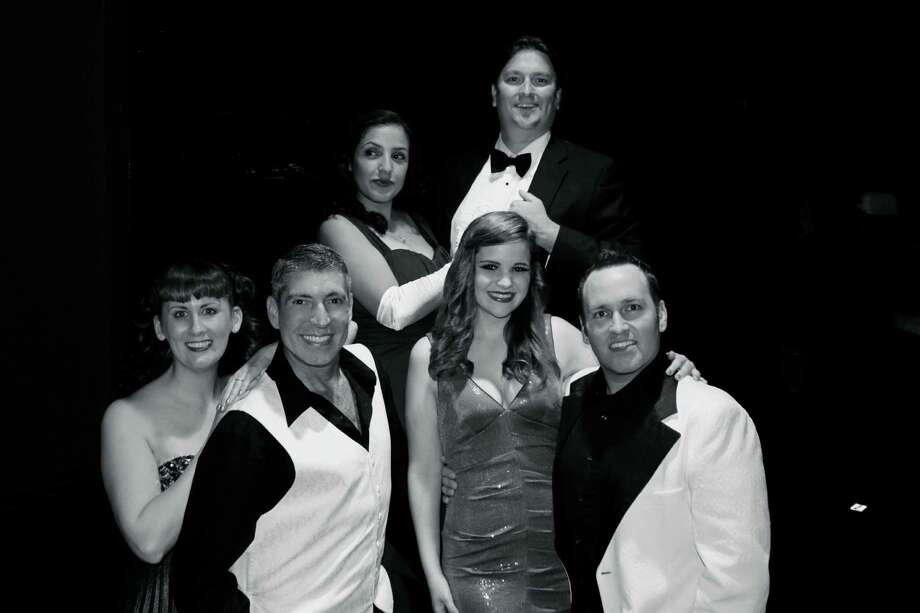 "Harlequin Dinner Theatre's ""Let's Go to the Movies"" features (front from left) Heidi Melton, Johnny Halpenny, Seeley Stephens and Shawn Kjos, and (rear from left) Belen Cabrera-Sanchez and Daniel Melton. Photo: Courtesy Nikki Folsom"