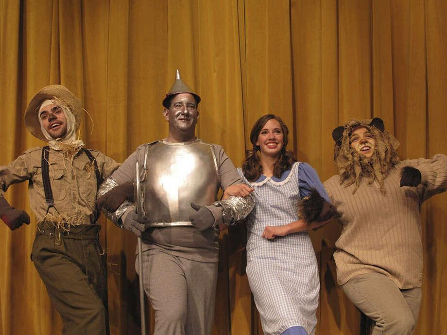 "Ronnie McCaskill, Neil Klusky, Julie Ricks and Robin Williams help make ""The Wizard of Oz"" a fun trip down a yellow-brick memory lane. Photo: Courtesy Circle Arts Theatre"