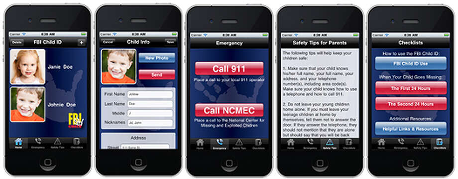 "The FBI Child ID app: This free app is designed to help parents in an emergency situation get specific information about their child immediately to those who can help: Mall security, the police, the AMBER Alert system, etc. It includes 10 safety tips, forms to fill out about the physical characteristics of the child, a link to a program that provides physical ID kits and checklists for what you should and can do if your child is missing.The DOJ says this about the app: ""The Child ID App provides parents and caregivers with an easy way to electronically store pictures and vital information about their children in case they go missing—whether it's a toddler wandering away at the mall or a teen who has been snatched by a stranger. Using the app, you can show pictures of your kids and provide physical identifiers such as height and weight to security or police officers on the spot. You can also quickly and easily e-mail the information to authorities with a few clicks. The app also includes tips on keeping children safe as well as specific guidance on what to do in those first few crucial hours after a child goes missing.""Courtesy of the FBI Photo: Mulitple"