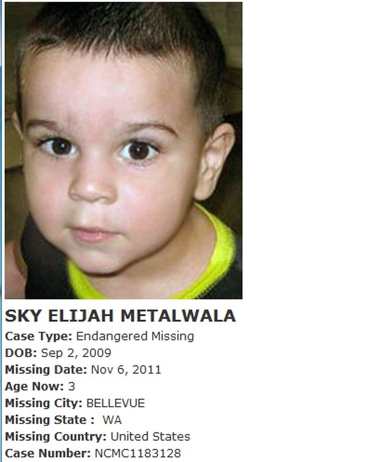In the majority of solved child-abduction cases, children are abducted by a parent, according to the FBI. While Sky Metalwala's case is still unsolved, his father and his father's attorney, Leslie Clay Terry, have been very vocal about their opinion of Sky's mother's alleged involvement in his disappearance. His mother denies involvement but has not been cooperative with police.Sky Metalwala disappeared in 2011 near Bellevue when he was 2 years old. His mother, Julia Biryukova, told police that she and her two children left their home in Redmond to take Sky to a hospital in Bellevue. She stated that on the way there, they ran out of gas in the 2600 block of 112th Avenue Northeast in Bellevue and that she took her 4-year-old daughter with her to the nearest gas station (about a mile away) while leaving Sky in the car. Biryukova said they returned to the car to find him gone and she then called police. When police arrived, they concluded there was nothing wrong with the car and that it was not out of gas. Although Biryukova had gone to the gas station, she had not purchased gas there and there was no gas can present at the scene. A search of the area resulted in no clues as to the whereabouts of Sky.There has been no sign of Sky since, and no arrests have been made or charges filed.