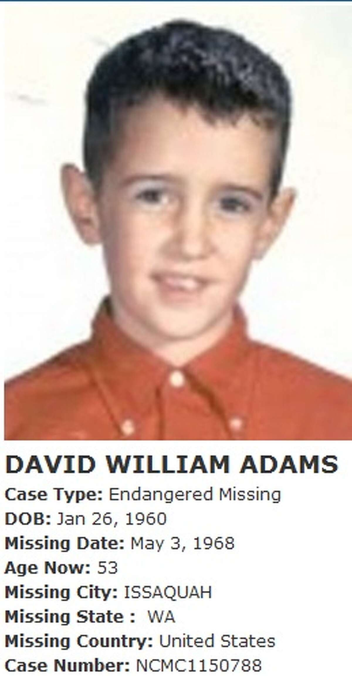 According to the FBI, more than half of child abductions take place within three city blocks of the victim's home. The David Adams case, which happened in 1968 but is still active, is an example of that. Adams disappeared in 1968 when he was 8 years old while he was walking near Tiger Mountain Road in Issaquah, going from a friend's house to his own. When he did not arrive home, his parents alerted the authorities and a huge search was conducted, yielding no results.The case was closed when authorities assumed the boy had been attacked by animals or fallen down a mine shaft, but it was reopened by King County Sheriff's Office Det. Scott Tompkins in 2009 when Tompkins determined that a then-20-year-old neighbor of Adams was the last person who may have seen him because the neighbor was seen in the area where Adams went missing.That man, who is now in his 60s, was interviewed in the days following David's disappearance and is still considered a person of interest. In 2009, the person of interest, who is not being named because he has not been charged, was given a polygraph test, which he reportedly failed. The case remains unsolved.David Adams' page from the National Center for Missing and Exploited Children