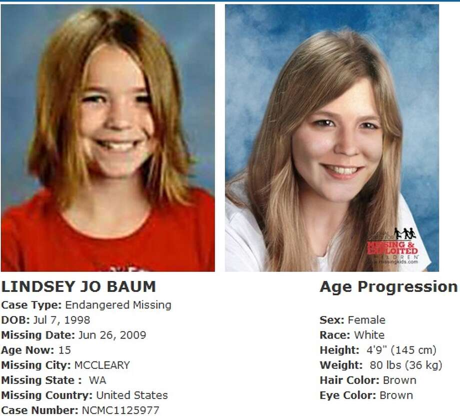 Lindsey Baum, 11, disappeared from McCleary on June 26, 2009. Her disappearance drew national attention, but, thus far, she remains missing. Anyone with information can contact the McCleary Police Department at 866-915-8299. The Washington State Patrol missing persons unit can be reached at 1-800-543-5678; National Center for Missing and Exploited Children hotline is 1-800-843-5678 (1-800-THE-LOST). More information on Washington state missing children is available online at wsp.wa.gov. Photo: Mulitple