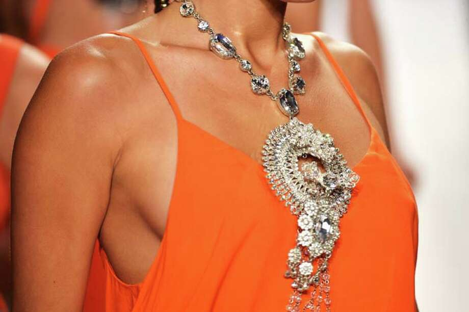 Caution: a necklace this big may sink you. Photo: Frazer Harrison, Getty Images For L*Space By Monica Wise / 2013 Getty Images
