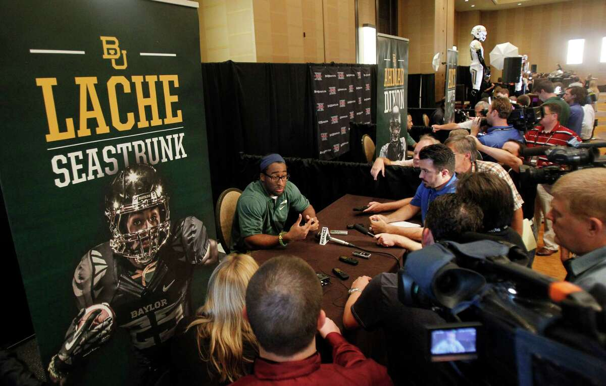 Baylor running back Lache Seastrunk talks to members of the media during a breakout session at the Big 12 Conference football Media Days Tuesday, July 23, 2013 in Dallas. (AP Photo/Tim Sharp)