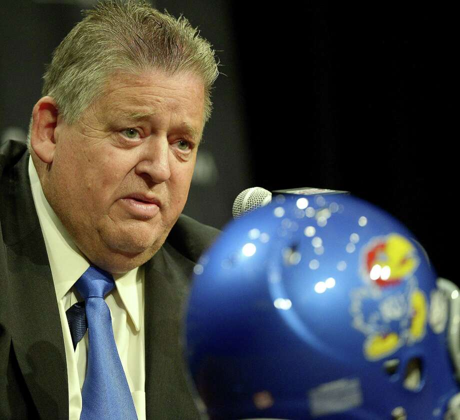 Kansas coach Charlie Weis talks with reporters during the Big 12 media day at the Omni Hotel in Dallas, Texas, Monday, July 22, 2013.  (Max Faulkner/Fort Worth Star-Telegram/MCT) Photo: Max Faulkner, McClatchy-Tribune News Service / Fort Worth Star-Telegram