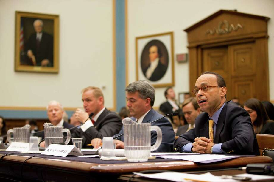 "Rep. Luis Gutierrez, D-Ill., right, testifies on Capitol Hill in Washington, Tuesday, July 23, 2013, before the House Judiciary subcommittee on Immigration and Border Security hearing: ""Addressing the Immigration Status of Illegal Immigrants Brought to the United States as Children"".  From left are, Rep. Mike Coffman, R-Colo., Rep. Jeff Denham, R-Calif., Rep. Cory Gardner, D-Colo., and Gutierrez. (AP Photo/Evan Vucci) Photo: Evan Vucci, Associated Press / AP"