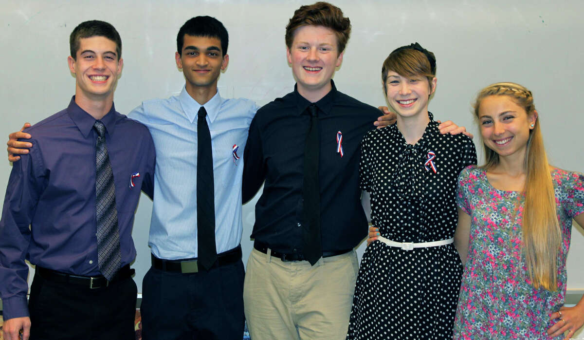 Graduating members of the New Milford High School chapter of French Honor Society were, from left to right, Tommy Barkal, Tanner George, Cody Helgesen, Lindsey Partelow and Mia Carlone, as well as, not shown, Diana Ortega. June 2013 Courtesy of Barbara Polley