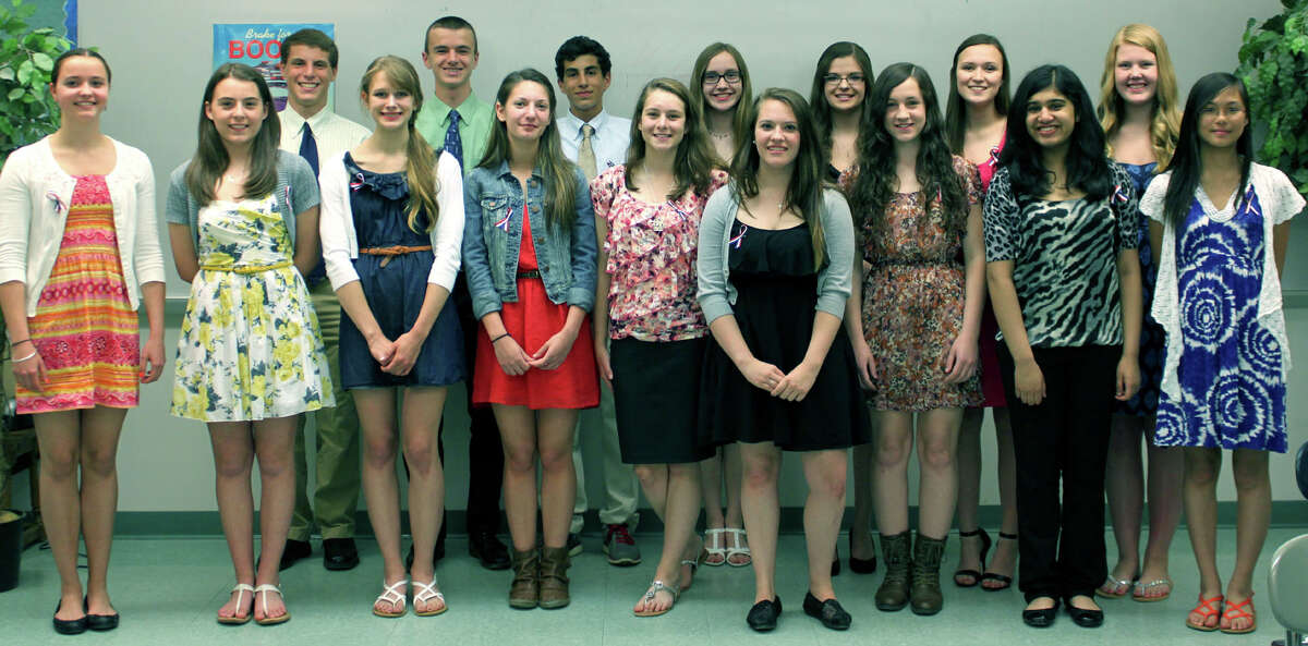 Inducted near the end of the school year into the New Milford High School chapter of the French Honor Society were, from left to right, in front, Bettina Harcken, Mackenzie Morehouse, Kayla Doto, Lindsey Wainwright, Kailyn Schuster, Paige Sorenson, Marissa Fugardi, Kezia Varughese and Francine Luo, and, in back, Nathaniel Diamond, Zachary Pitcher, Lawrence Andrea, Katherine Polley, Kimberly Palmer, Allegra Peery and Abigail Gillin. Courtesy of Barbara Polley